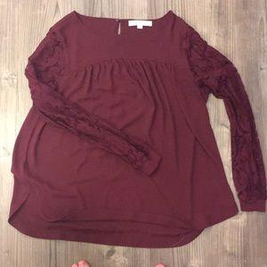 LOFT maroon lace long sleeve shirt M